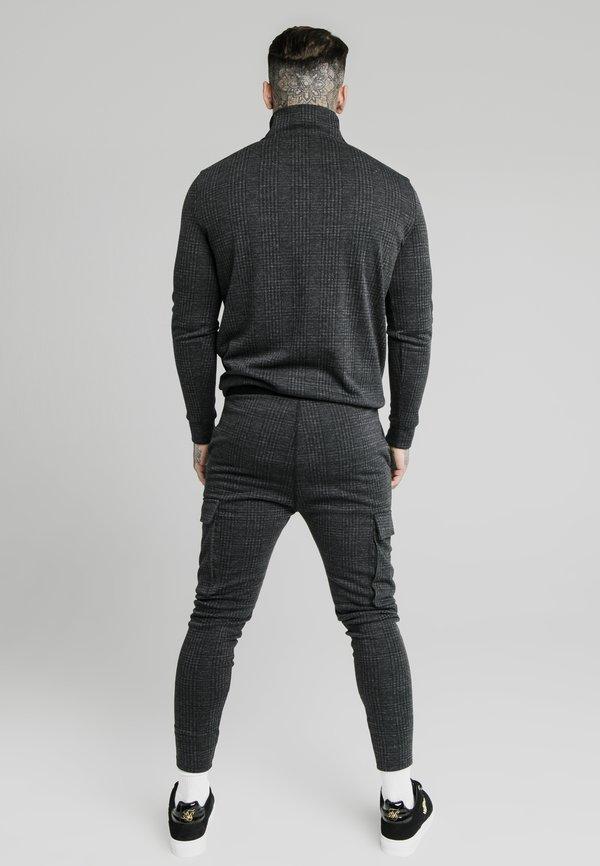 SIKSILK SIKSILK TONAL CHECK QUARTER ZIP - Sweter - grey/szary Odzież Męska NLOZ