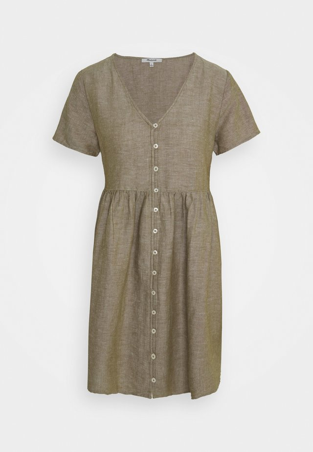 MINI VNECK BUTTONFRONT DRESS  - Paitamekko - olive branch