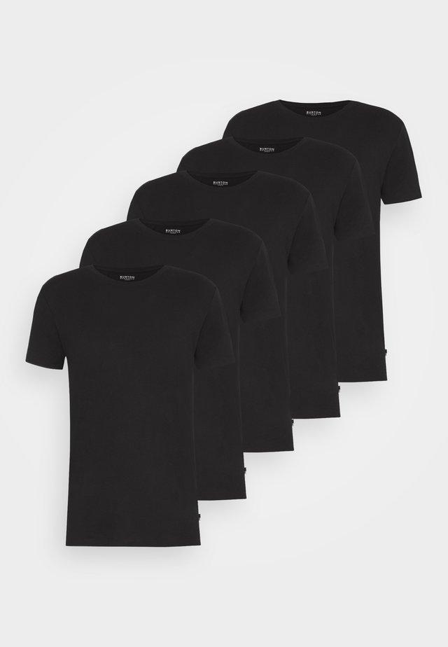 SHORT SLEEVE CREW 5 PACK - T-shirt basic - black