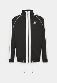 SIKSILK - PREMIUM TAPE FUNNEL ZIP THROUGH HOODIE - Felpa aperta - jet black/off white - 3