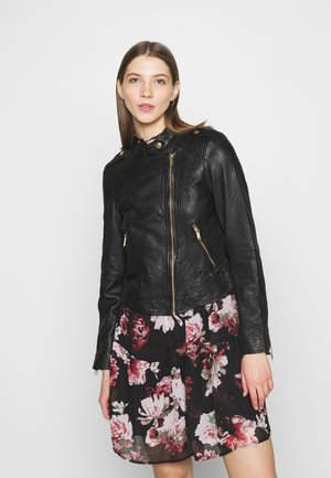 ONLJULIA BIKER - Leather jacket - black