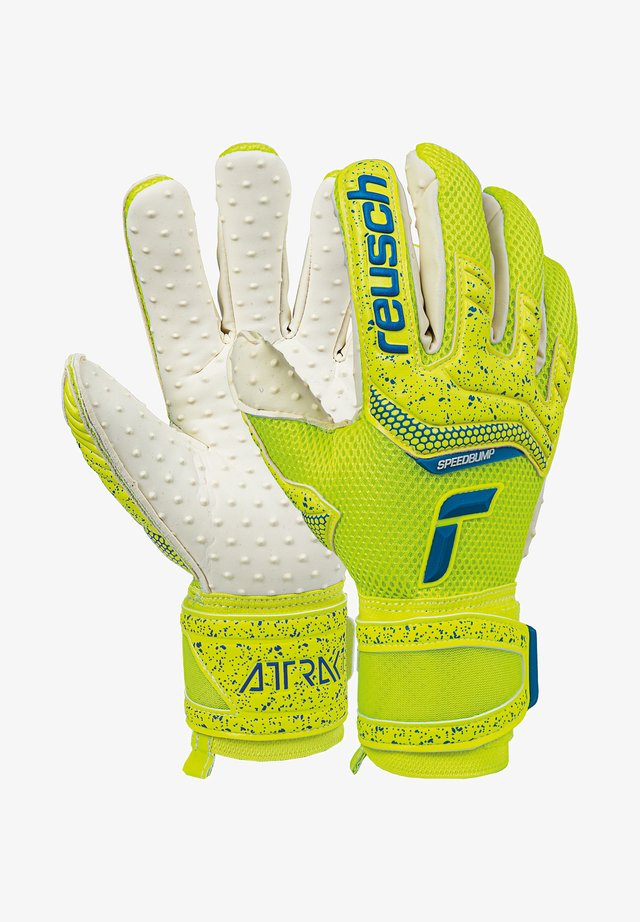 ATTRAKT SPEEDBUMP - Goalkeeping gloves - safet yellow/dp blue/whit