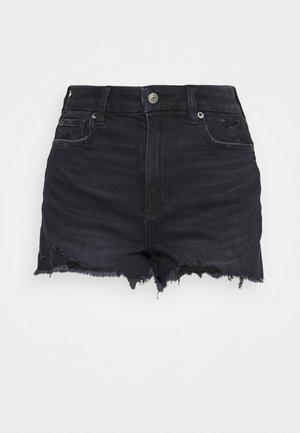 CURVY SUPER HI RISE  - Denim shorts - black denim
