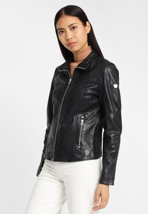 GGLyvia LAMAXV - Leather jacket - black/blue