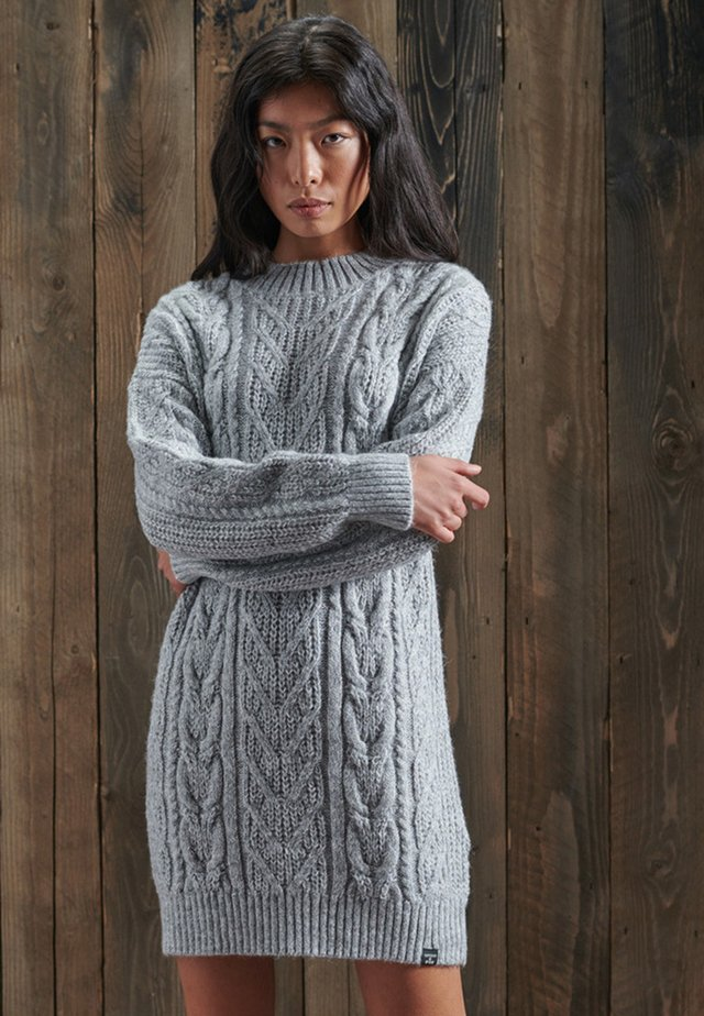 FLORENCE CABLE - Robe pull - flecked dove grey