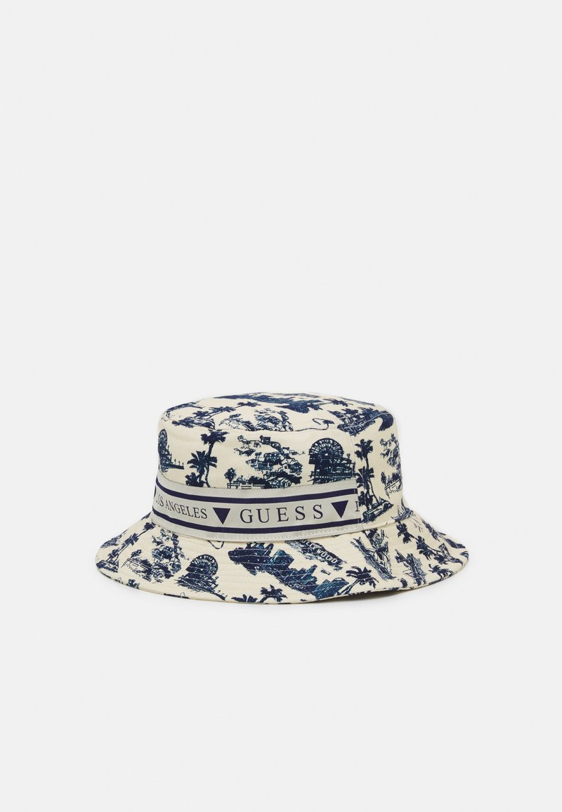 Guess - BUCKET HAT UNISEX - Hat - white/blue