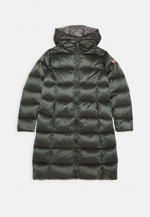 MEDIUM LENGTH GIRL JACKET WITH HOOD - Kabát z prachového peří - matcha dark steel