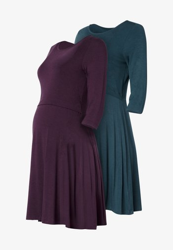 UNA 2 PACK - Sukienka z dżerseju - plum/emd