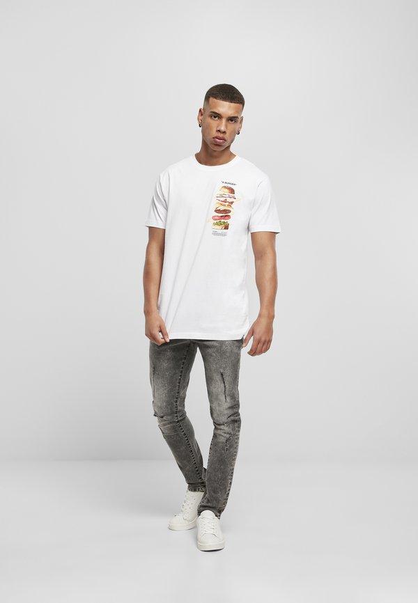 Mister Tee A BURGER - T-shirt z nadrukiem - white/biały Odzież Męska ASDZ