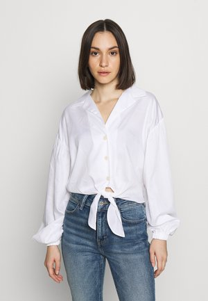 POPLIN TIE FRONT - Blouse - white