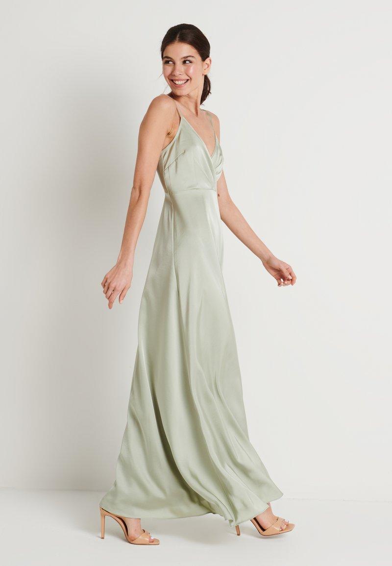 NA-KD - V-NECK FLOWY DRESS - Maxi dress - dusty green