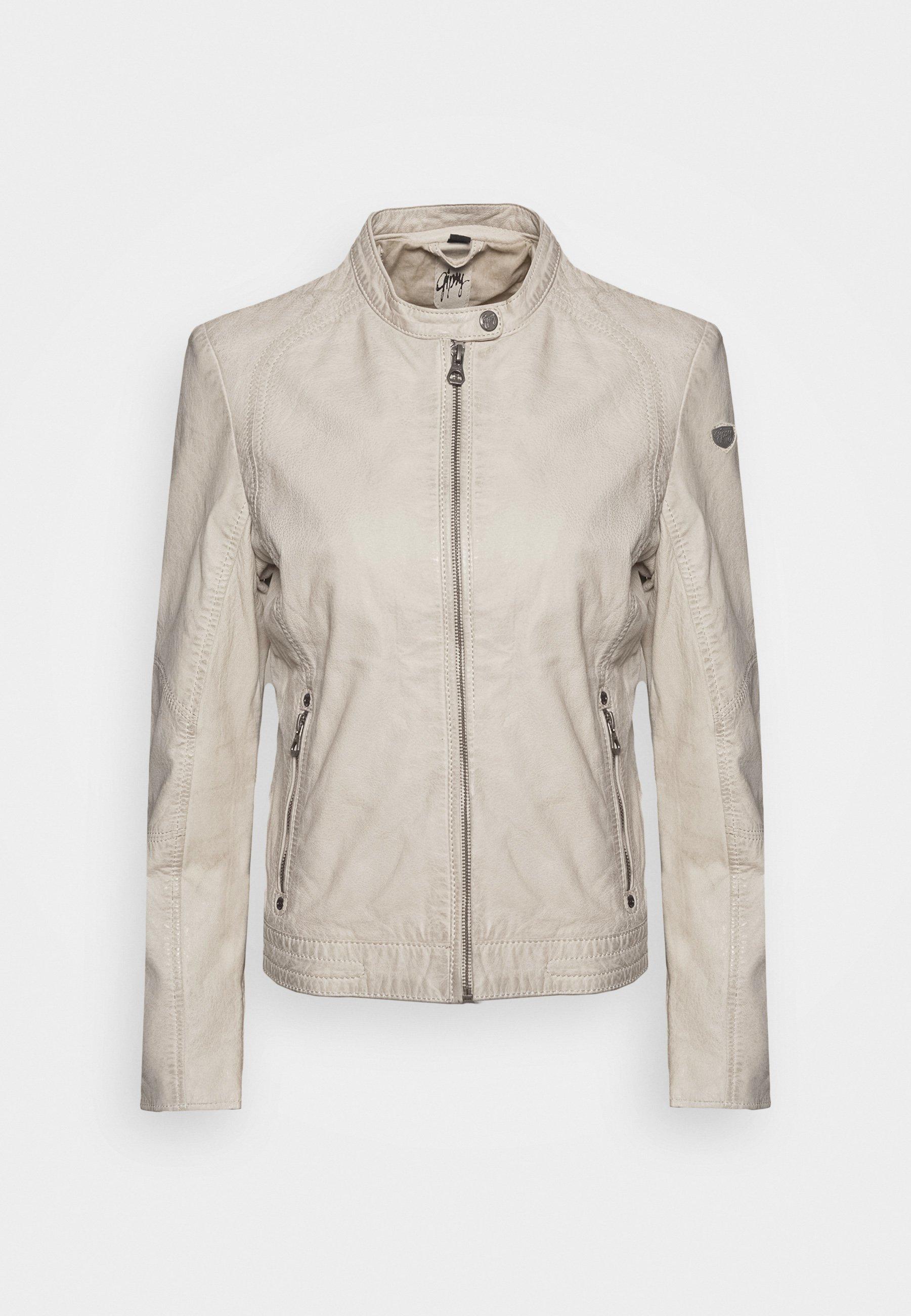 GGNIDEL LAMAS Leren jas off white