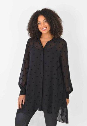 FLOCKED STAR HANKY HEM  - Button-down blouse - black