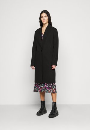 COLLARLESS UNLINED COAT - Classic coat - black
