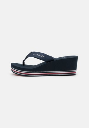 STRIPES WEDGE BEACH - T-bar sandals - desert sky