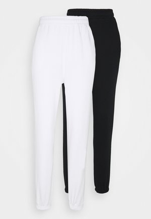 2 PACK - Loose fit Joggers - Tracksuit bottoms - black/white