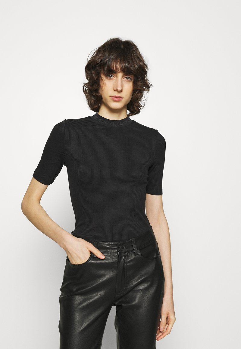 Calvin Klein Jeans - LOGO TRIM TEE - Print T-shirt - black
