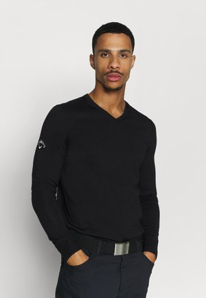 V-NECK - Strikkegenser - black onyx