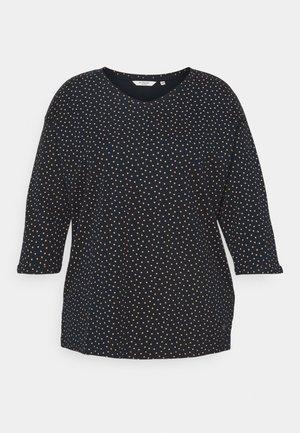 V-NECK - Long sleeved top - navy brown dot