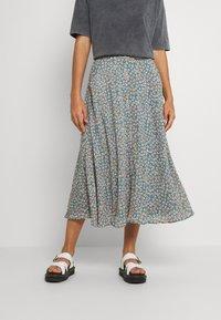 Vila - VICANELA MIDI SKIRT - A-line skirt - colony blue/salmon buff - 0