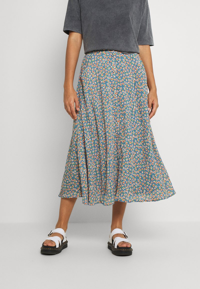 Vila - VICANELA MIDI SKIRT - A-line skirt - colony blue/salmon buff