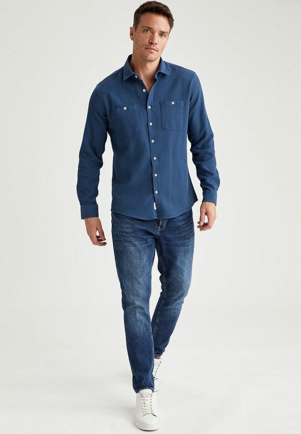 DeFacto Koszula - indigo/granatowy Odzież Męska GHQV