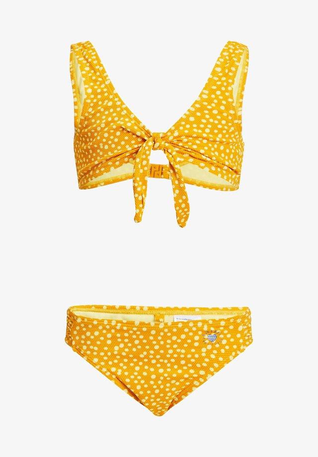 MET STIPPENDESSIN EN STRUCTUUR - Bikini - mustard yellow