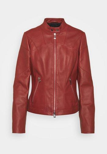 LIBRA - Kožená bunda - dark red