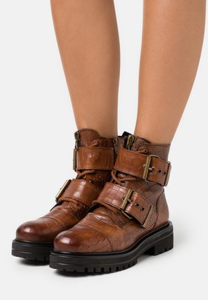 MIMI - Lace-up ankle boots - cognac
