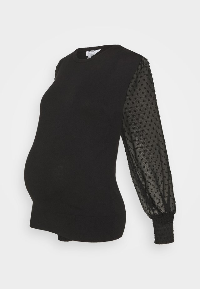DOBBY SLEEVE JUMPER - Trui - black