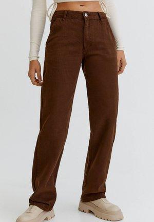Straight leg jeans - mottled light brown