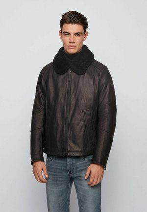 JANKA - Leather jacket - black