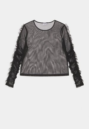 NMTULLE LS FRILL - Long sleeved top - black