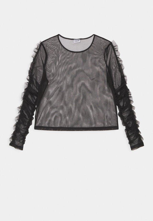 NMTULLE LS FRILL - Camiseta de manga larga - black