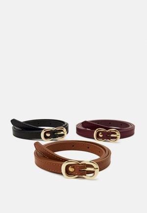 3 PACK - Belt - black /bordeaux/cognac