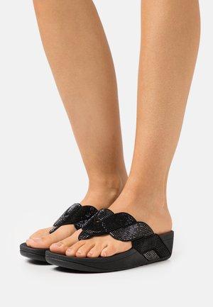 PAISLEY ROPE TOE THONGS - T-bar sandals - black