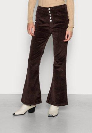 SUPER SKINNY FLARED TROUSERS - Trousers - dark brown