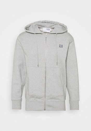 SLHCOREY HOOD ZIP - Sweatjakke - light grey melange