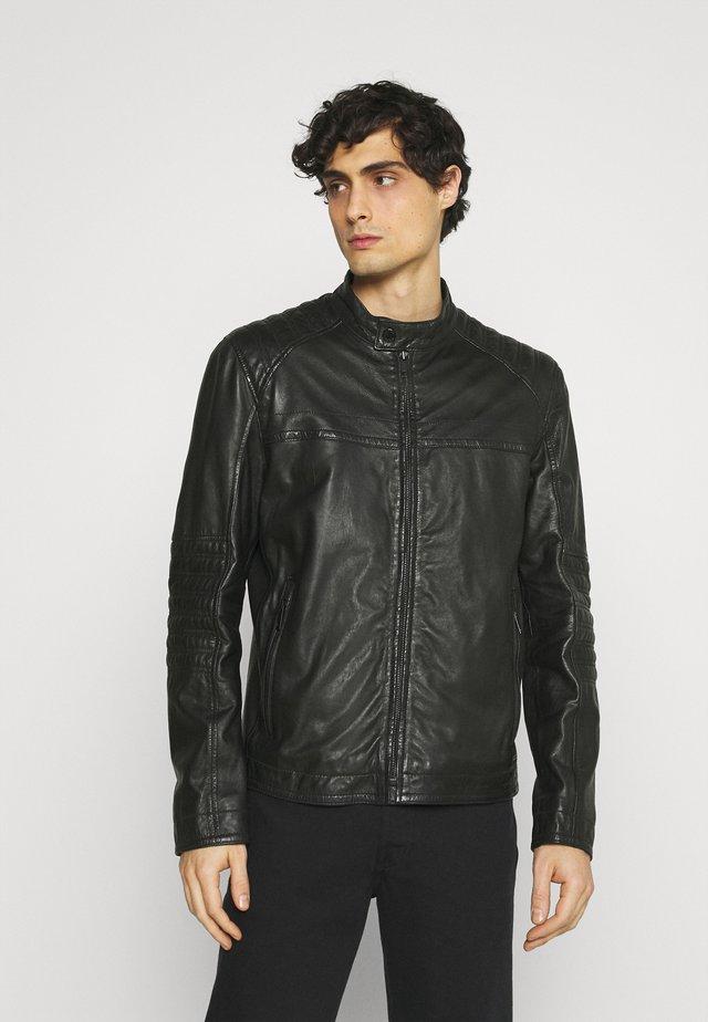 DRIVER - Kožená bunda - black