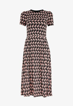 LUCINDA - Jersey dress - schwarz, tropischer flamingo