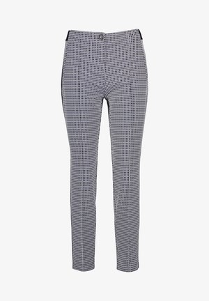 MIT MINIMALKARO - Pantalon classique - blau/ecru/weiss gemuster
