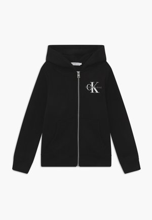 MONOGRAM CHEST ZIP HOODIE - Huvtröja med dragkedja - black