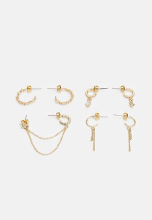 PCSANVI HOOP EARRINGS 4 PACK - Øredobber - gold-coloured