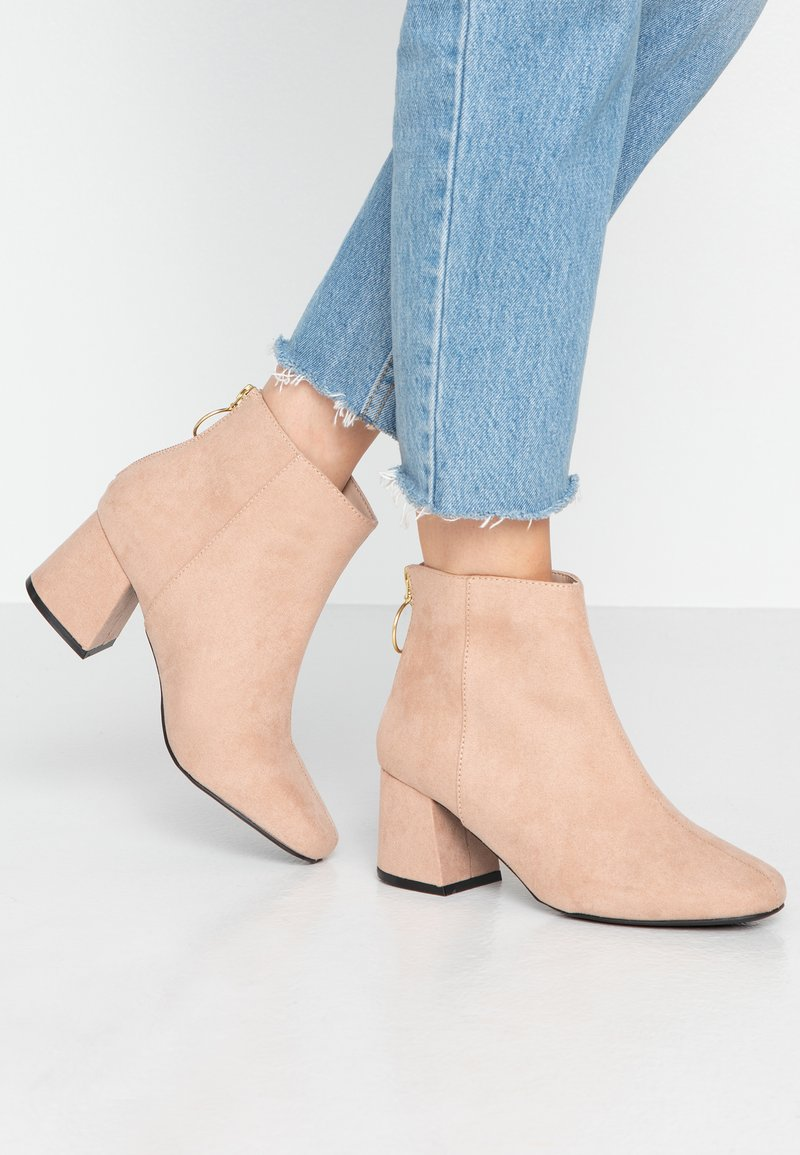 Miss Selfridge Wide Fit - WIDE FIT BRIXTON ZIP BACK SQUARE TOE - Ankle boots - nude