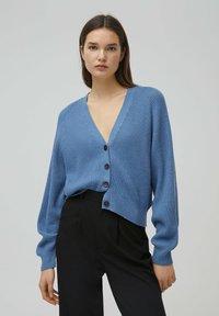 PULL&BEAR - Cardigan - mottled dark blue - 0