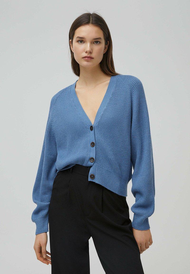 PULL&BEAR - Cardigan - mottled dark blue