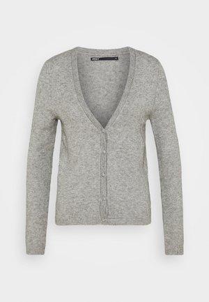 ONLLESLY V NECK BUTTON - Kardigan - medium grey melange