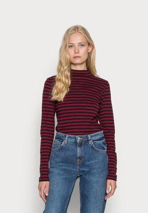 FULL NEELDE MOCK NECK STRIPED - Maglietta a manica lunga - navy