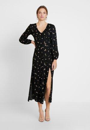 FLORAL BUTTON THROUGH DRESS - Maxi dress - black