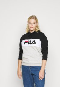 Fila Plus - LORI HOODY - Hoodie - black/light grey melange/bright white - 0